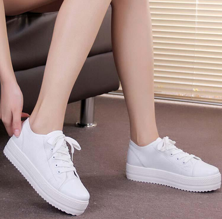 New Canvas Casual Women Shoes Female Thick Soles Muffin Round ...
