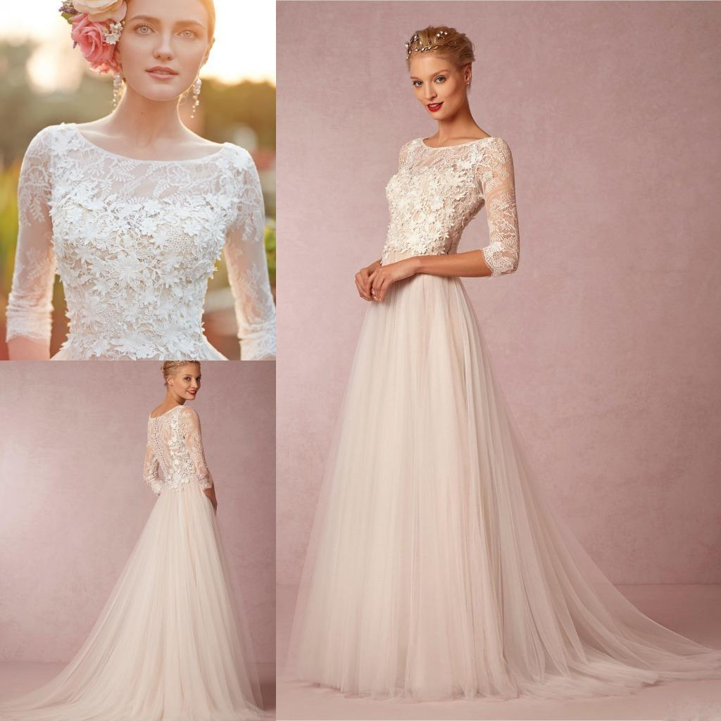 Discount Spring Simple Wedding Dresses A Line Cheap 3 4