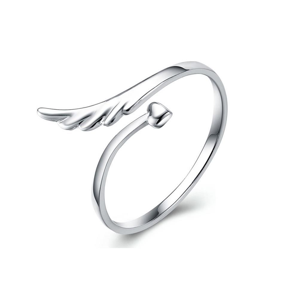 2015 beautiful angel wings rings for girl women silver plated love heart rings wedding rings - Girl Wedding Rings