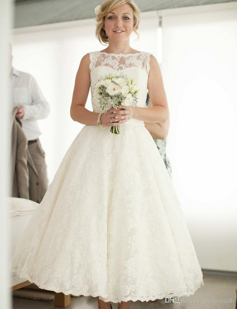 Vintage Tea Length Wedding Dress For Tattoo Bride Bateau Neckline ...