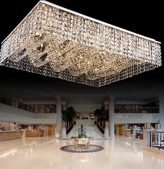 New Flush Mount Living Room Light Rectangular Crystal Chandelier Ceiling Fixtures Large Modern Hotel Lobby Online With