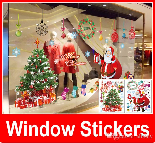 Merry Christmas Decorations Outdoor : Merry christmas wall stickers tree garland for