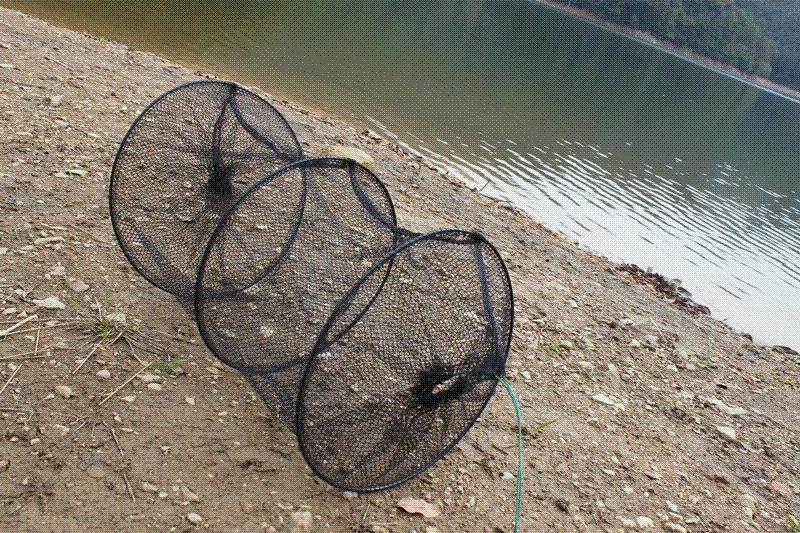 50cm 2 layers foldable nylon fishing net cage collapsible for Fish trap net