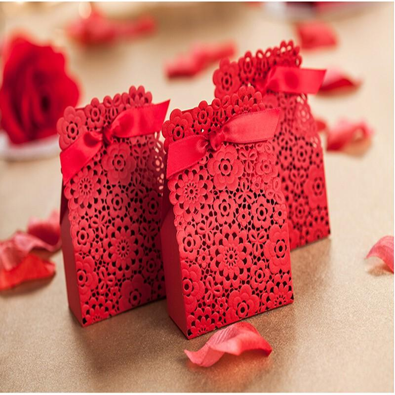 2015 Red Laser Cut Wedding Candy Boxes With Ribbon 20 Pecs /Hollow ...