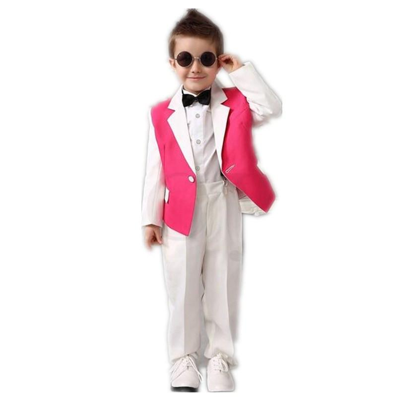 White Pink Boys Tuxedos Wedding Attire Baby Boy Dress Clothes