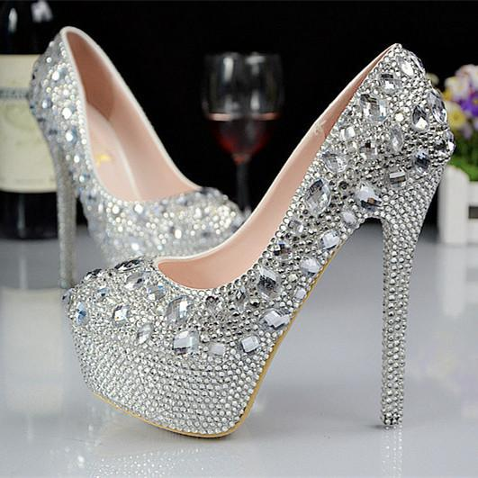 New Arrival 2015 Spring And Fall Bling Silver Rhinestones Wedding
