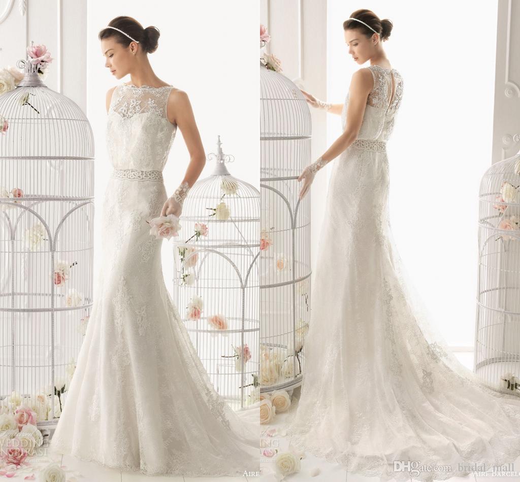 Wedding Sheath Wedding Dresses lace sheath wedding dresses sheer neck keyhole back sweep train free shipping with beading sash ivory