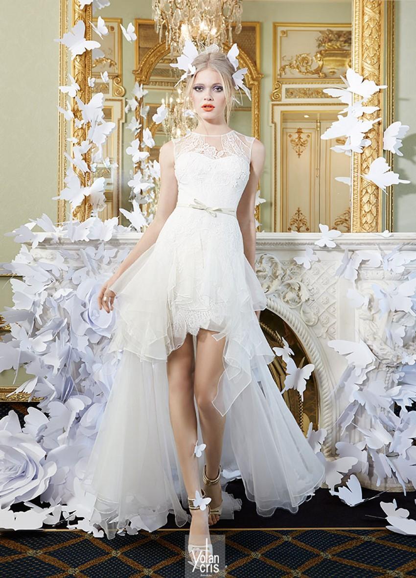 Wedding dresses high front crew neckline sheer sheer lace for Super cheap wedding dresses