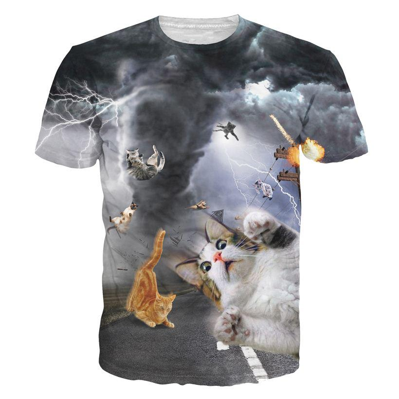 Tshirts new fashion women men funny cat t shirt print for Animal tee shirts online