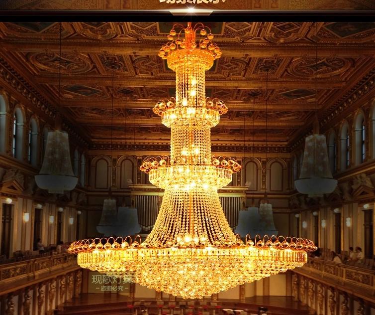 Penthouse floor golden chandeliers floor building in the living room chandelier house lobby - Building a chandelier ...