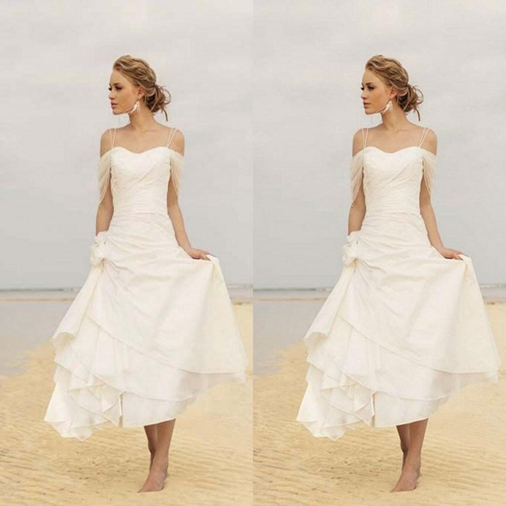 Bohemian Beach Wedding Dresses f Shoulder Ruffles Tea