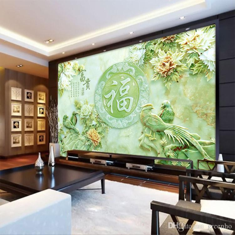 Unique design wall mural 3d jade carving wallpaper flower for Chinese wall mural