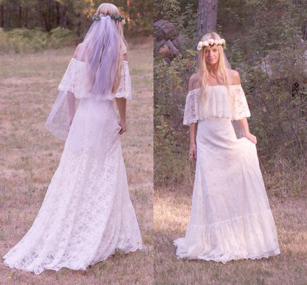 f The Shoulder Bohemian Wedding Dresses 2017 Lace