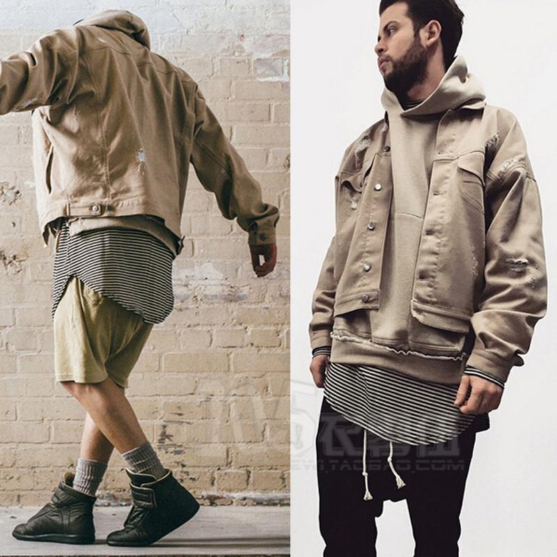 Khaki Denim Jacket Autumn Winter Beige Camel Distrressed Male ...