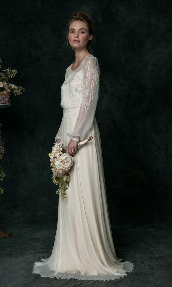 Vintage wedding gowns hand embroidered silk chiffon