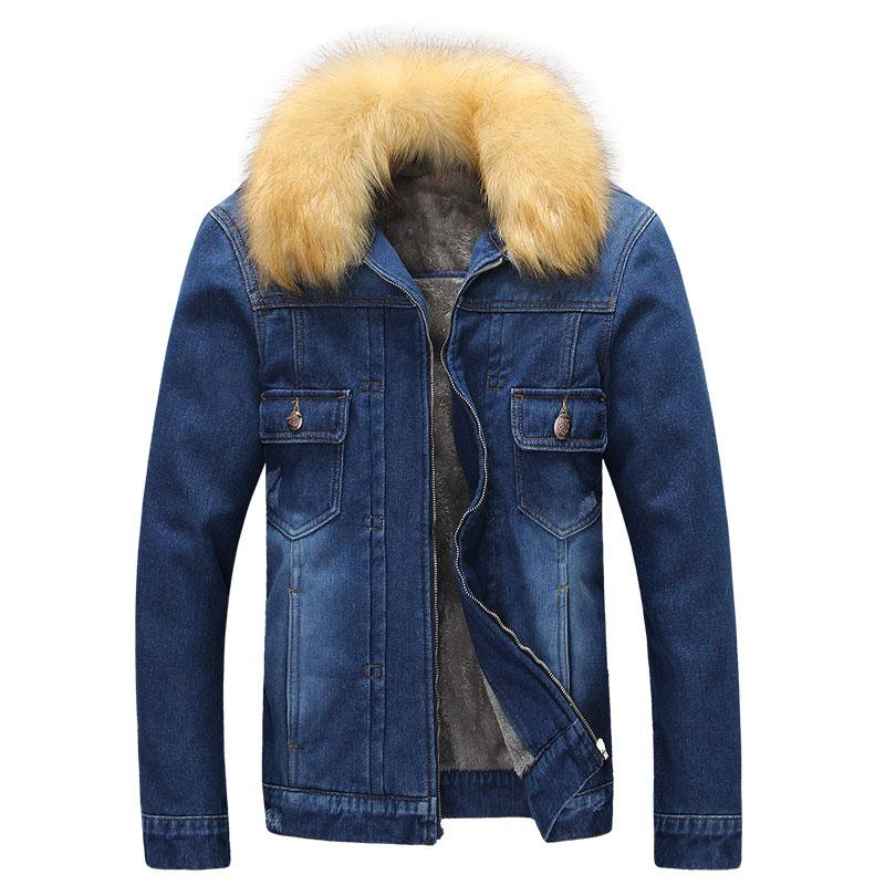Winter Denim Jacket Men Slim Fit Fur Collar Mens Jeans Jackets ...
