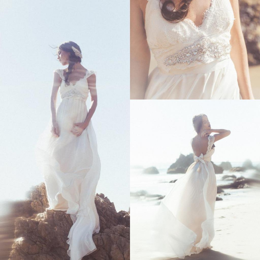 Boho chic backless wedding dress : Boho chic beach wedding dresses backless lace bridal gown empire