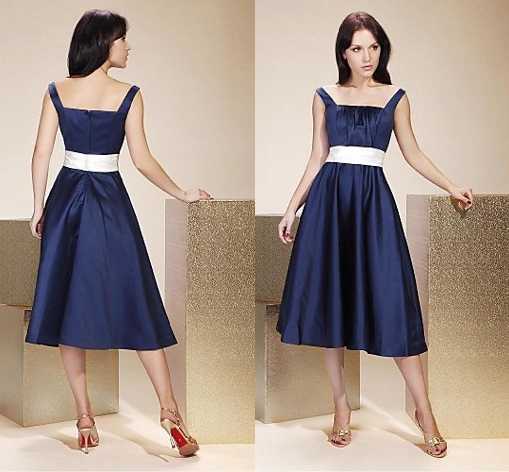 Ink blue square tea length bridesmaid dresses ruffle with sash ink blue square tea length bridesmaid dresses ruffle with sash sleeveless satin top quality miads for wedding party gowns draped formal wwl bridesmaid ombrellifo Image collections