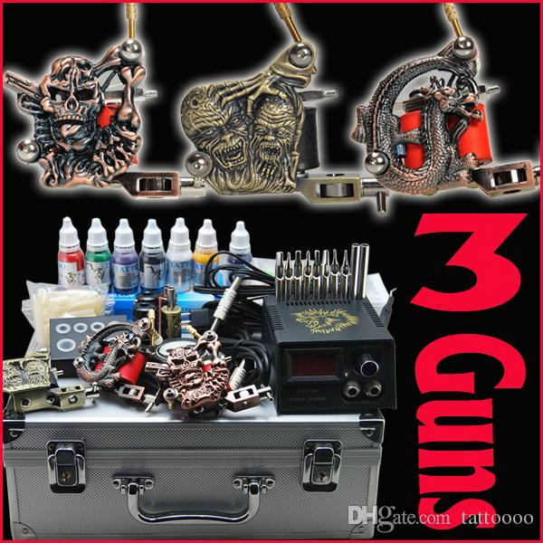 Details about top tattoo kit 2 machine gun ink tip power for Cheap tattoo ink
