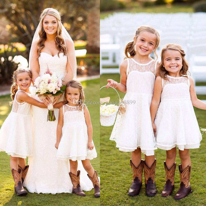 Pretty short lace crew flower girls dresses knee length for Country wedding party dresses