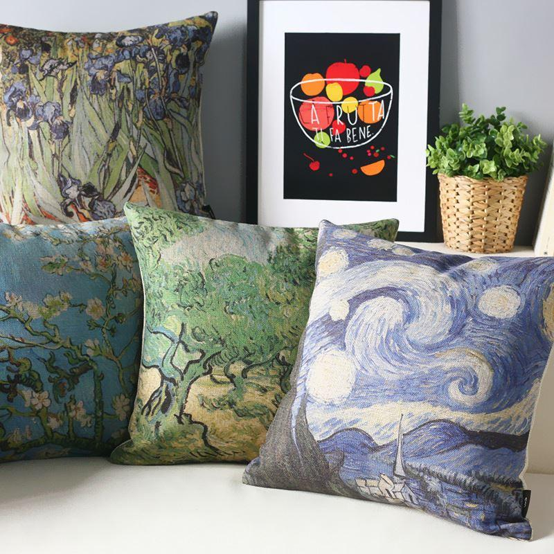 starry night painting van gogh pillow coversretro pillow cushion coverdecorative pillows