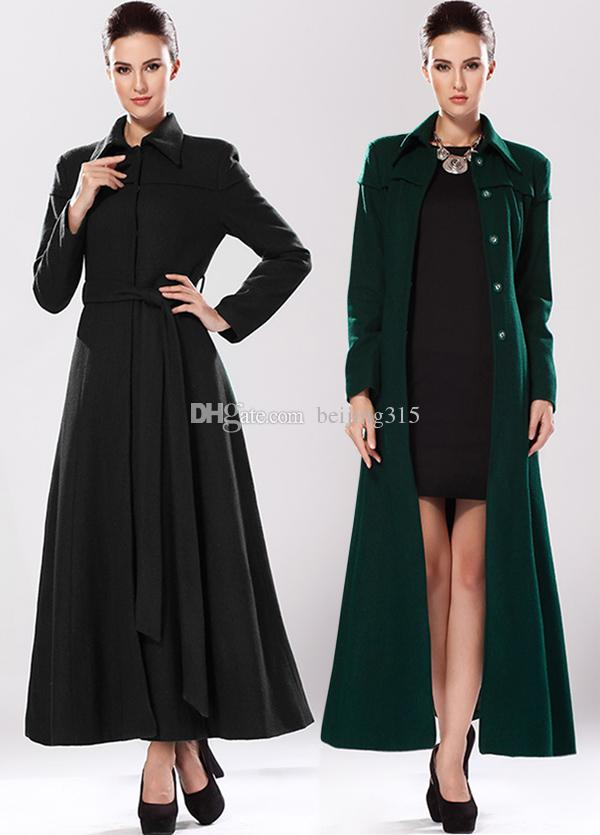 Sexy Western Plus Size Winter Coats Women Ladies Black Wool Coat