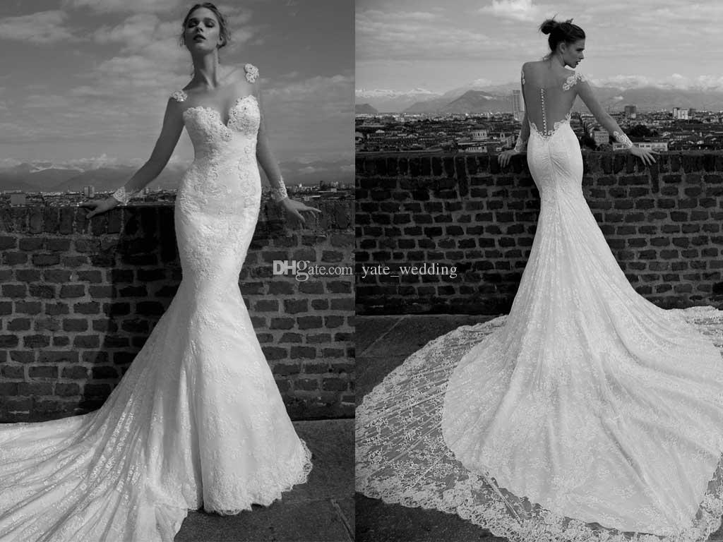 Long Sleeves Lace Mermaid Wedding Dresses 2016 New Arrival