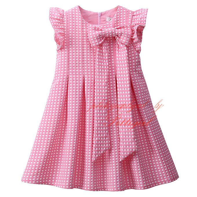 2017 Pettigirl Clearance Girls Dresses Decorated With Bow Pink Dot ...