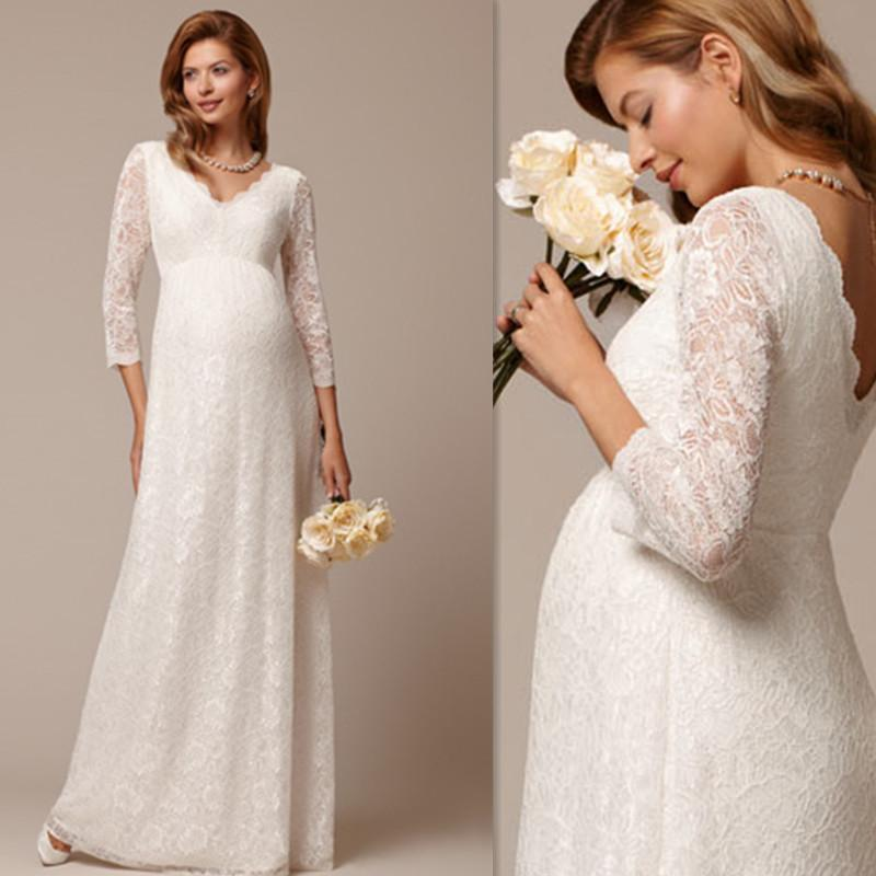 2016 long maternity wedding gowns ivory lace pregnant for Long sleeve lace maternity wedding dress