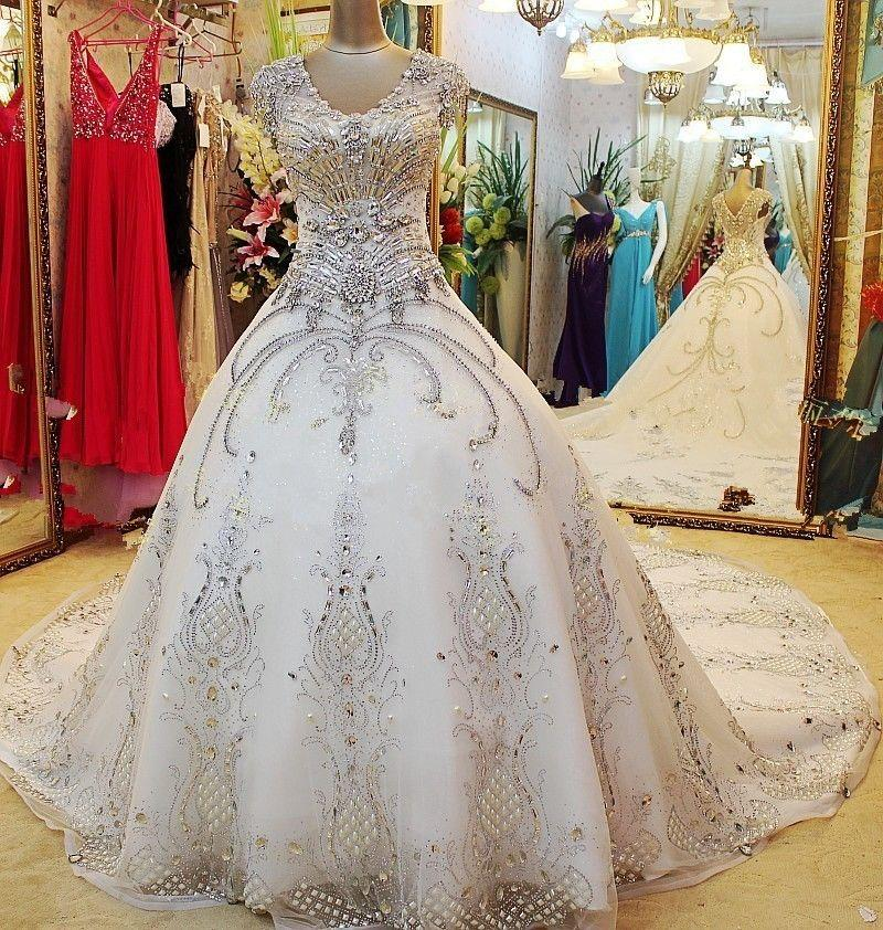 Ball Gown Wedding Dresses In Johannesburg : Discount luxurious white crystal ball gown wedding dresses
