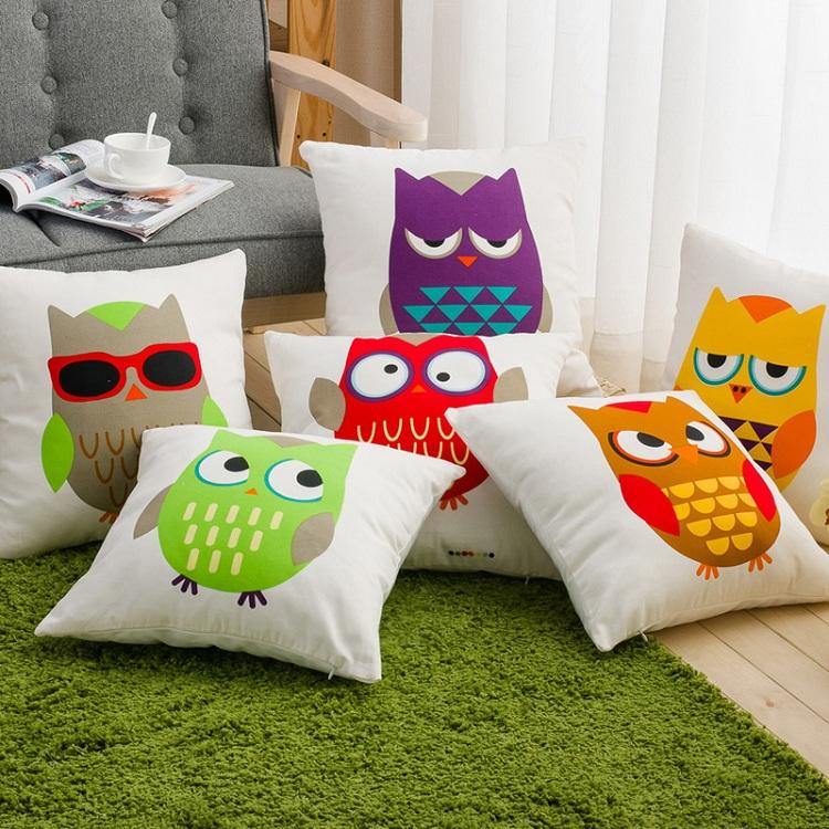 6 Styles Color Owls Birds Cushions Pillows Covers Emoji Emotions
