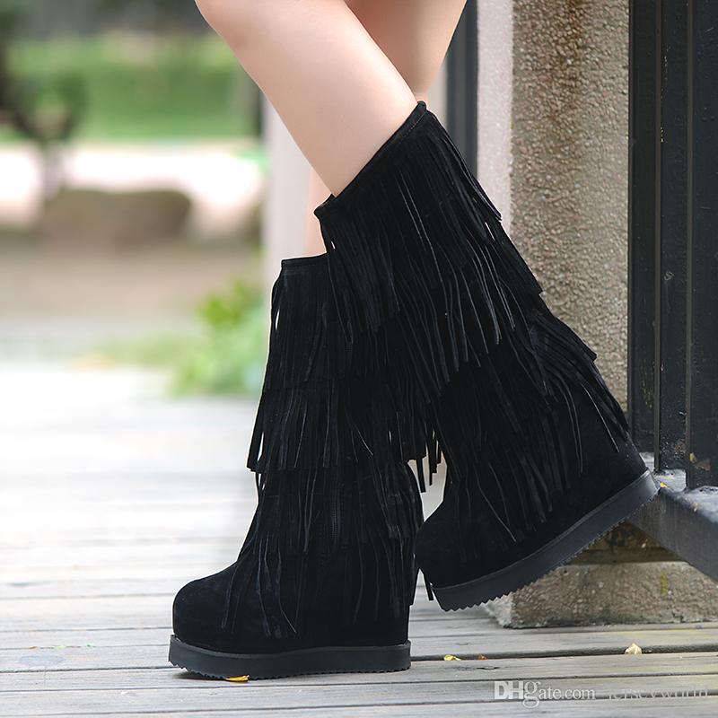 Women Fringe Boots Black Fringe Vintage High Heel Hidden Wedge ...