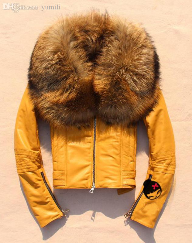 Discount Wholesale Yellow Leather Jacket With Leather With Fur