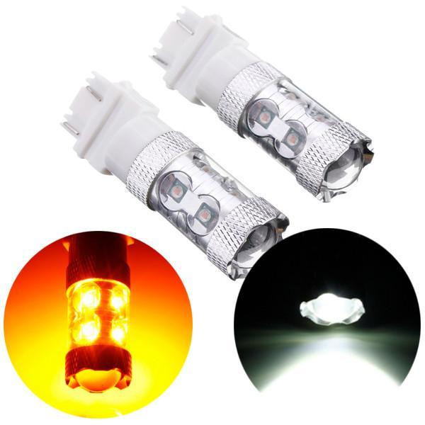 2x dual color cree led auto turn signalcar turn signal stop light indicator bulb 50w no tracking led bulbs 12 volt led candle