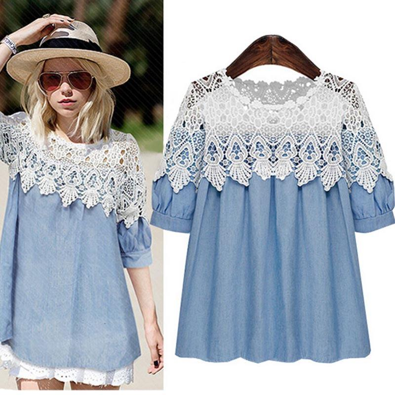 2017 2015 New Women Summer Clothes Denim Lace Dress Xl 5xl Plus ...