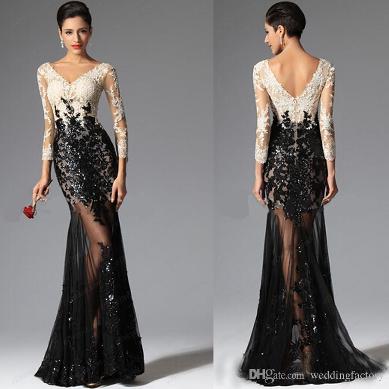 2015 Sexy High Quality Evening Gowns Sleeves Long Prom Gowns ...