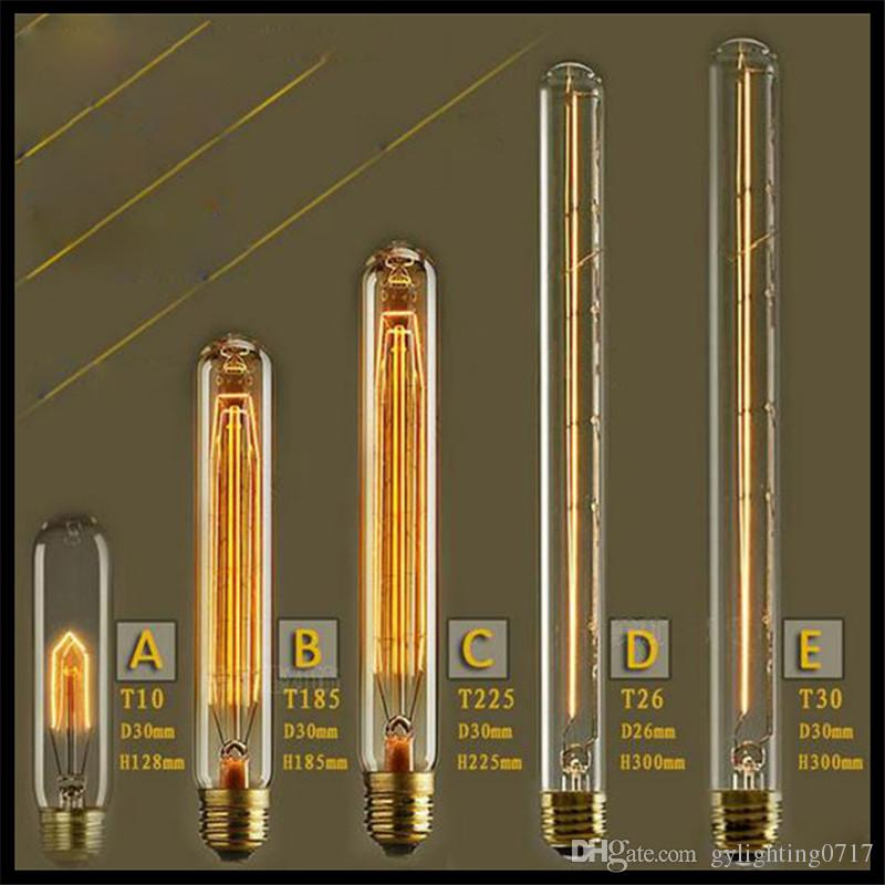 2017 110 120v Or 220 240v Vintage Test Tube 40w E27 Incandescent Tubular Edison Light Bulb T10