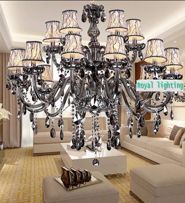 Retro Smoky Gray Crystal Chandelier 2 Layer 15 Arms Modern E14 LED Pendant Light Lustres De Cristal Living Room Ceiling Lamp