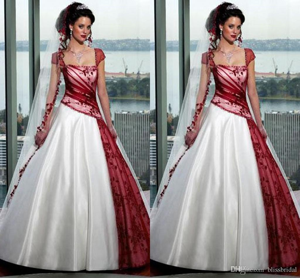 Beaded Red And White Gothic Wedding Dresses Ball Gowns