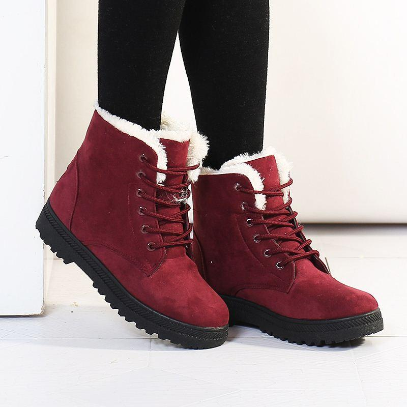 Autumn And Winter Female Snow Boots Flat Women Martin Boots Short