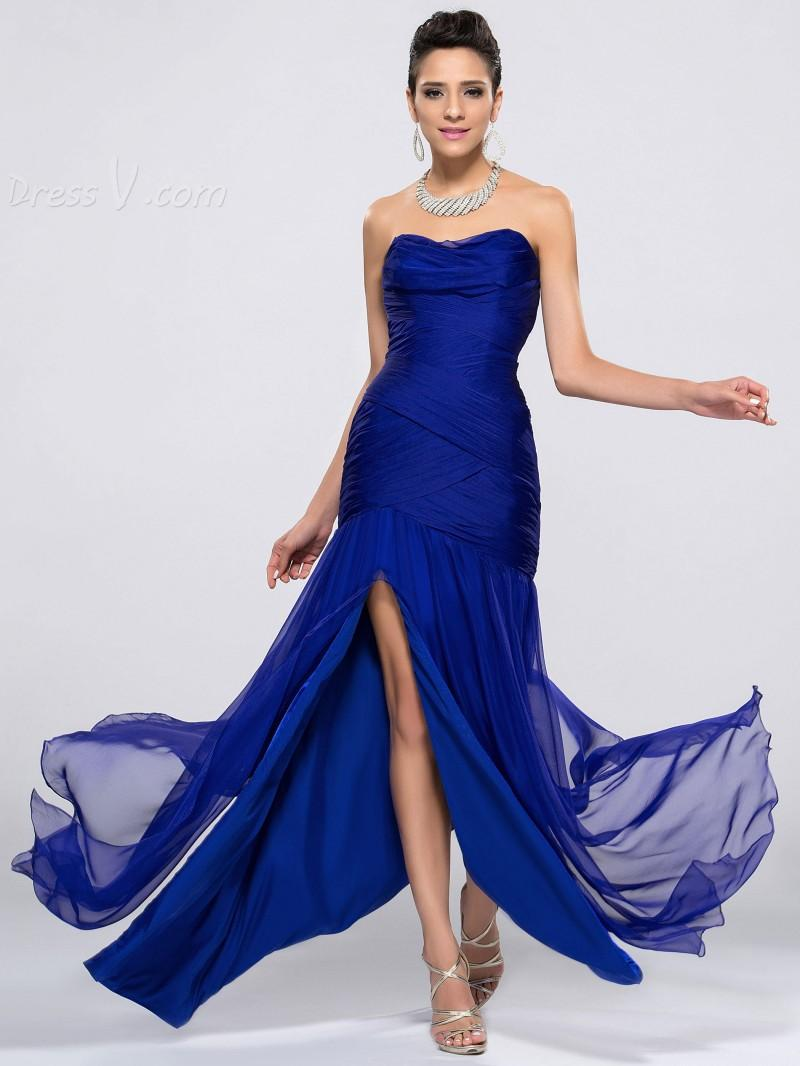 2016 Cheap Royal Blue Bridesmaid Dresses Split Front Sweetheart ...