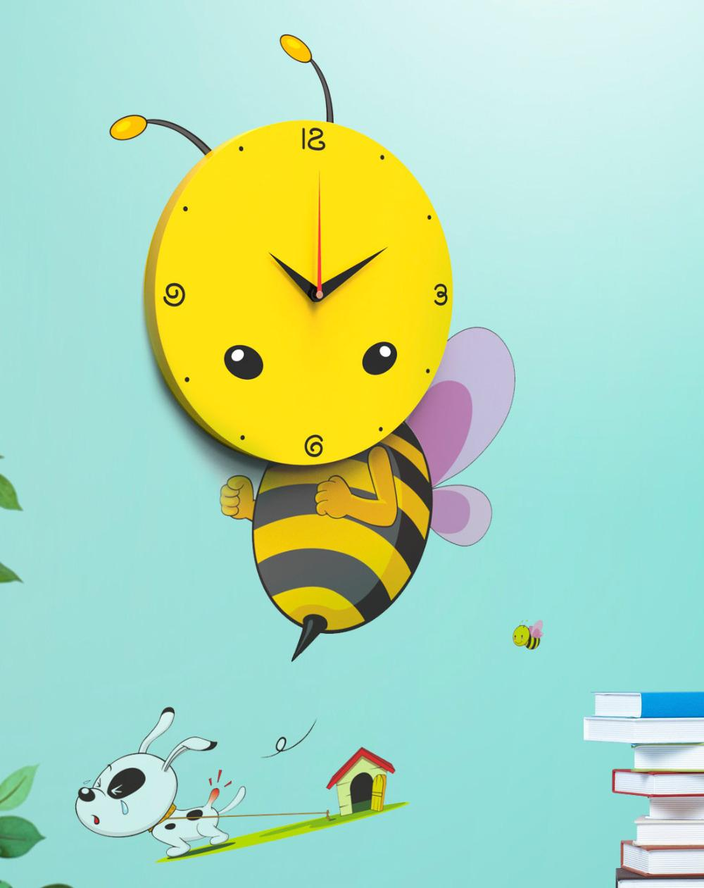 Decorative Wall Clocks For Living Room Cartoon 3d Bee Wall Sticker Wall Clock With Diy Wall Paper