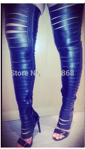 Sexy Strap Cut Outs Thigh High Boots High Heel Over The Knee Boots ...