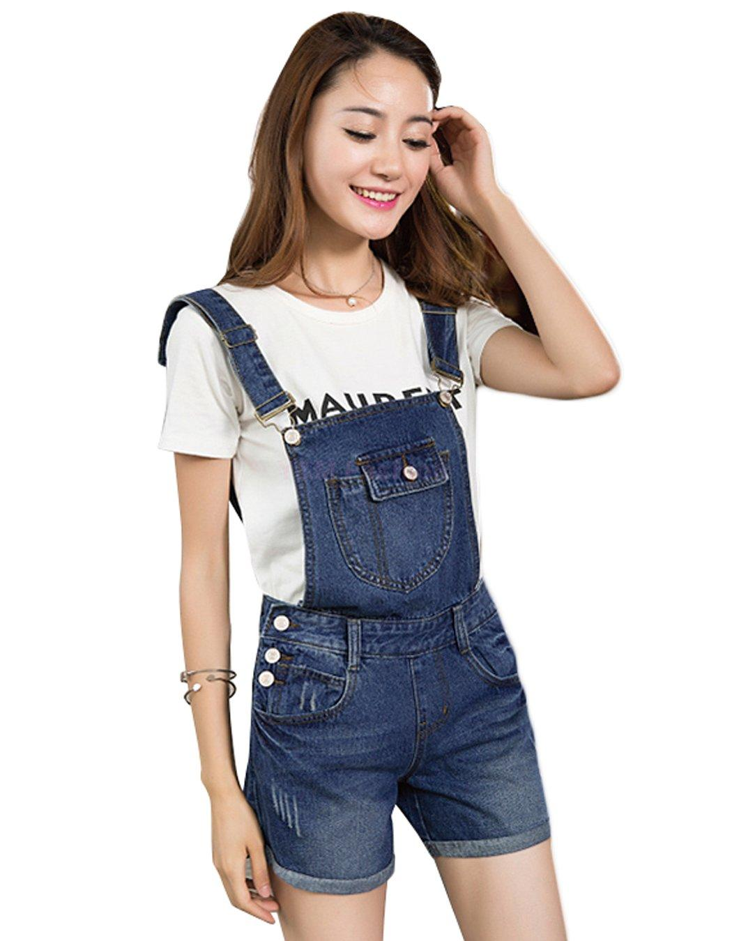 2017 Korean Stylen Women Casual Denim Jumpsuit Decor Loose Short ...