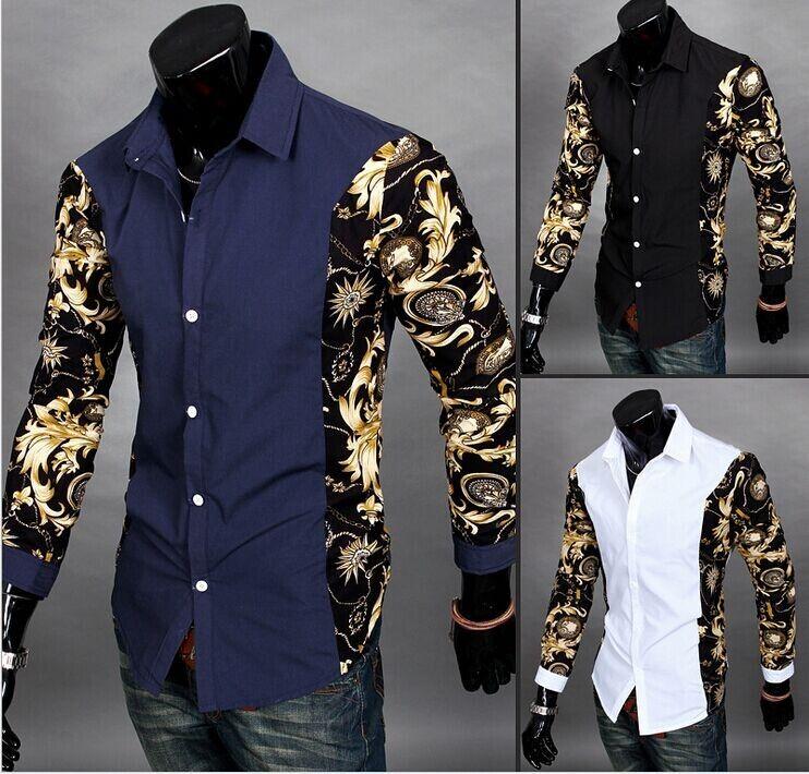 M-2XL Top Brands Men Shirt Korean Stylish Printed Floral Patchwork ...