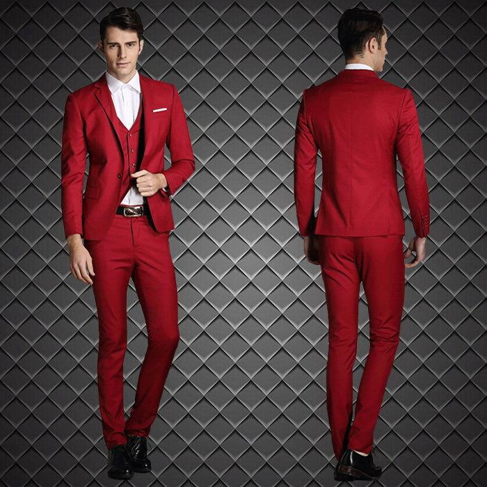 2015 New Arrival Groom Tuxedos Red Custom Made Groomsmen Best Man ...