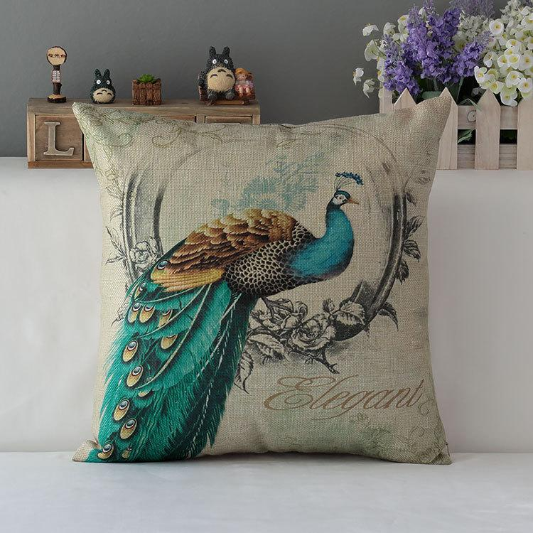 Luxury Decorative Pillow : Peacock Decorative Cushion Covers Luxury Home Decor Throw Pillows Sofa Pillowcases Burlap ...