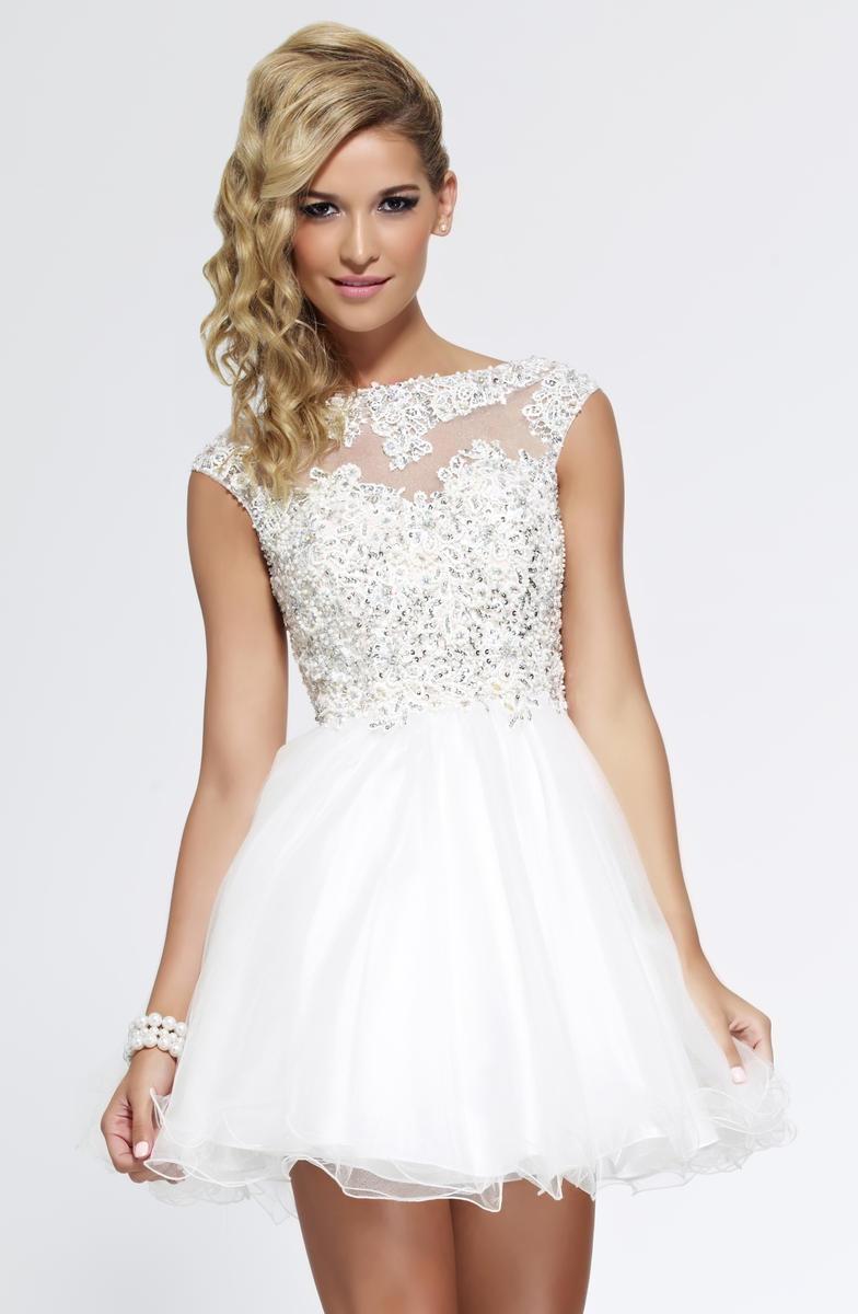 2015 Semi Formal Dresses A Line V Back Tulle Short Mini White Crew ...