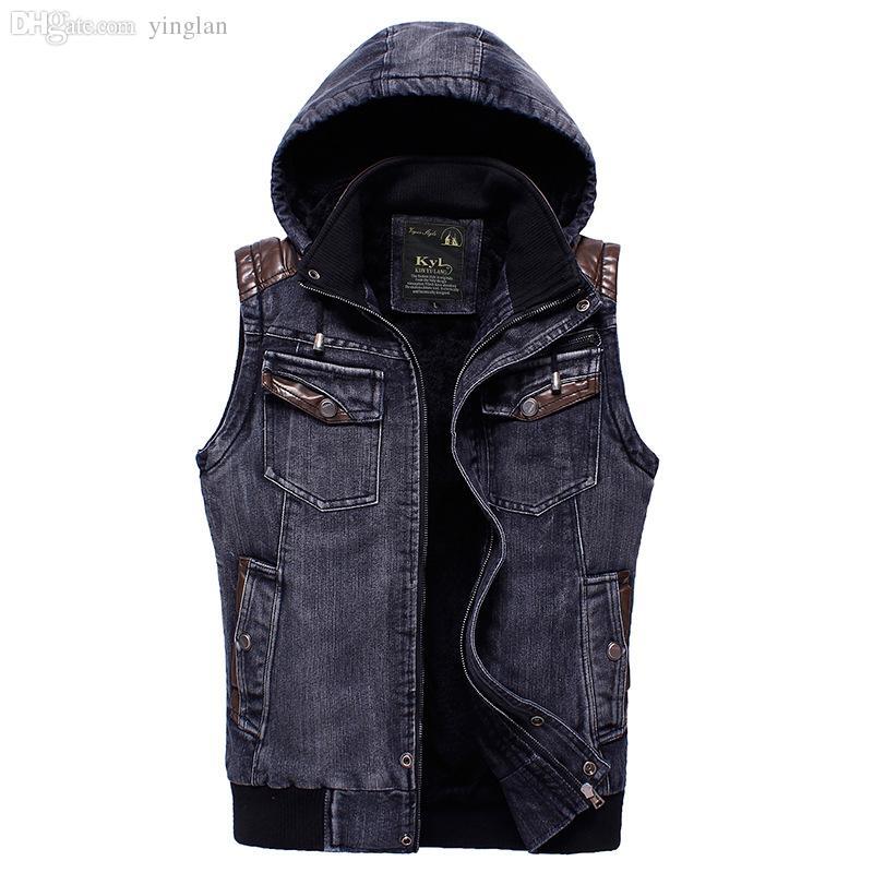 Best Fall Denim Hooded Vest For Men Sleeveless Jean Jacket ...