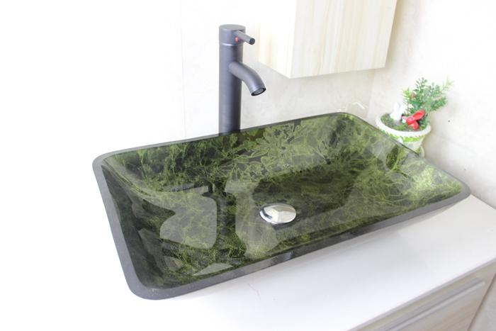 Best Quality Green Rectangular Basin Tempered Glass Vessel Sink With Faucet Set N 655 At Cheap